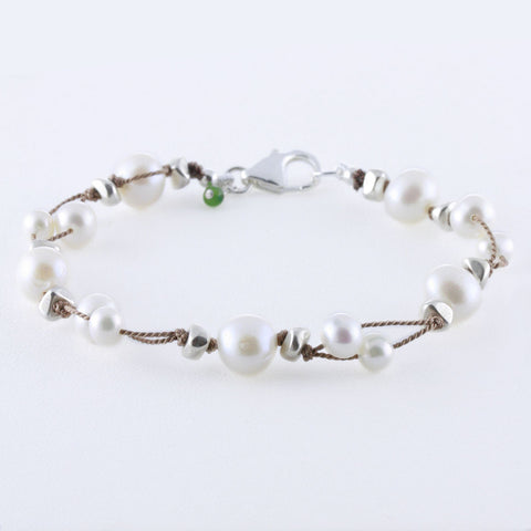Doubled Thread Pearls with Silver Plated Nuggets Bracelet