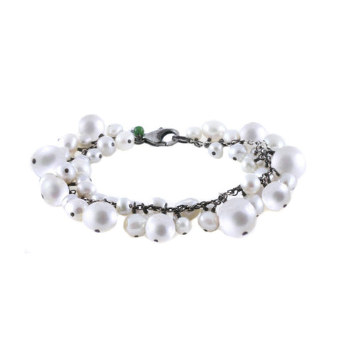 Mixed Multi Size Pearl Dangles on Chain Bracelet