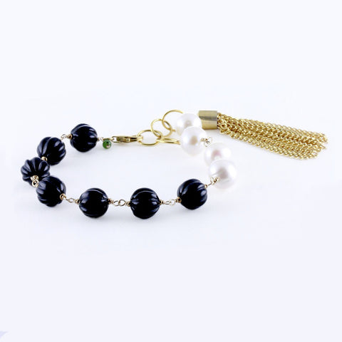 Freshwater Potato Pearls, Corrugated Black Onyx and Gold Plated Tassel Bracelet