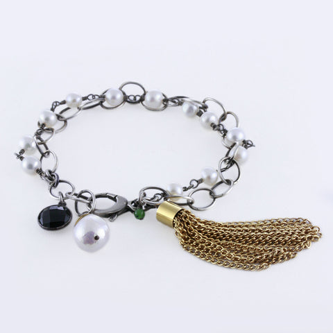 Pearl Rosary and Chain Bracelet with Gold Plated Tassel