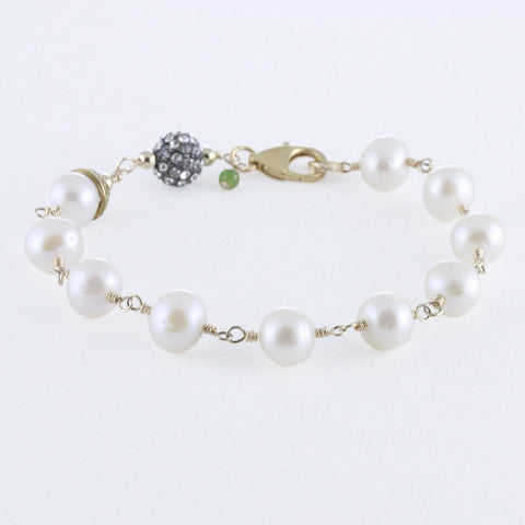 Pearl Rosary Bracelet with Crystal Pave Bead and Floral Brass Cap Detail