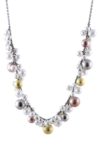 Pearl and Pyrite Dangles Necklace