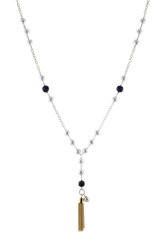 Freshwater Potato Pearls, Corrugated Black Onyx and Gold Plated Tassel Necklace
