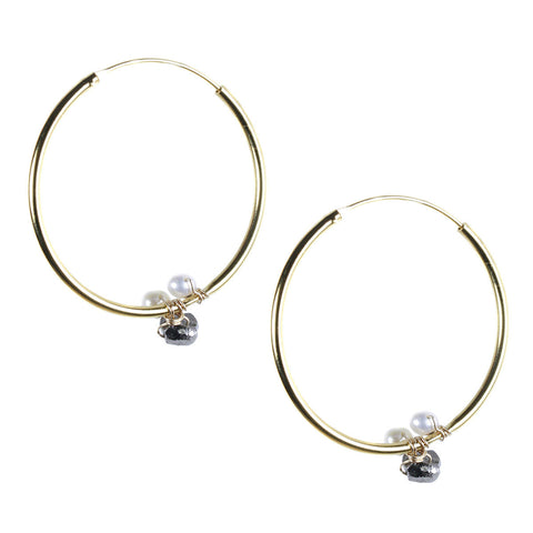 Gold Hoop Earring with Black Rhodium Pyrite and Pearl