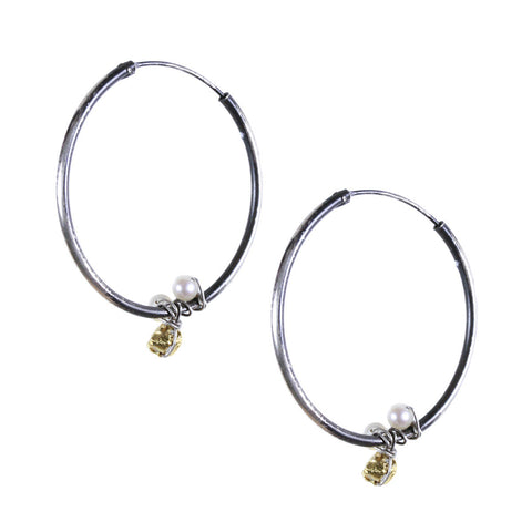 Hoop Earring with Gold Pyrite and Pearl Accent