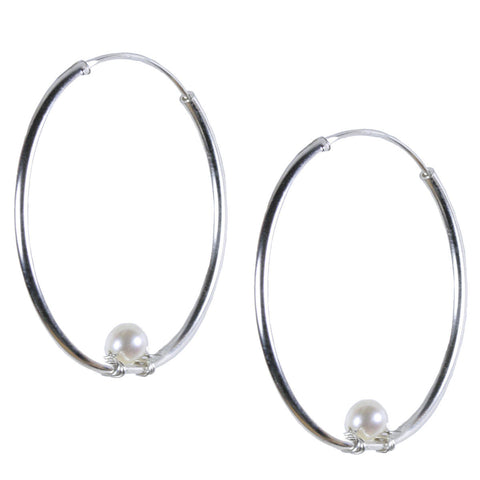 Simple Silver Hoop with Pearl Accent