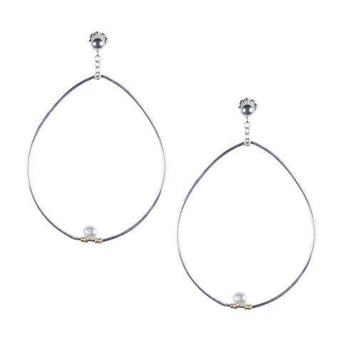 Silver Pear Shaped Hoop Earring