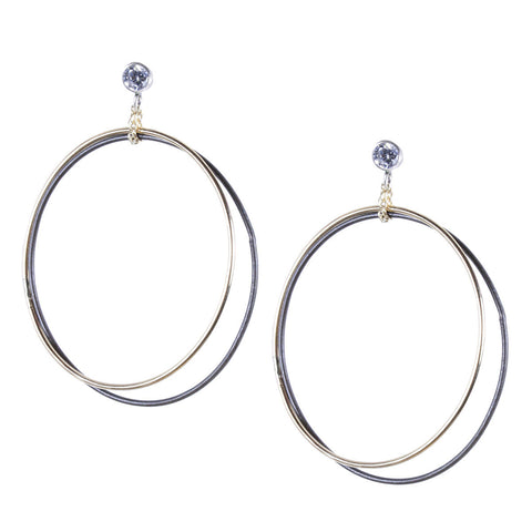Large Double Loops on Crystal Post Earring
