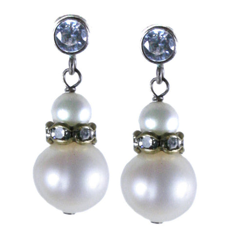 Pearl and Crystal Post Earring
