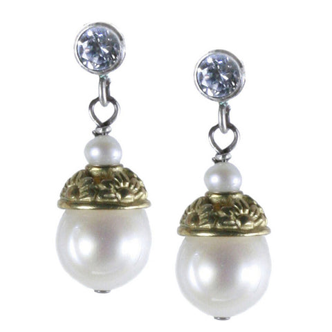 Pearl and Floral Brass Post Earring