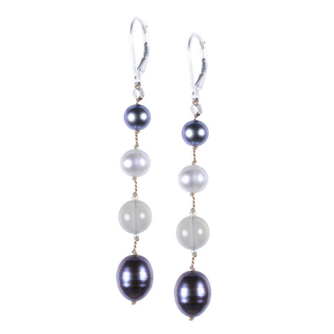 Long Gray Pearl Silk Earring