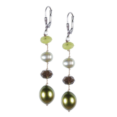 Long Green Multi Silk Earring