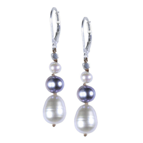 Silver Pearl Stack Silk Earring