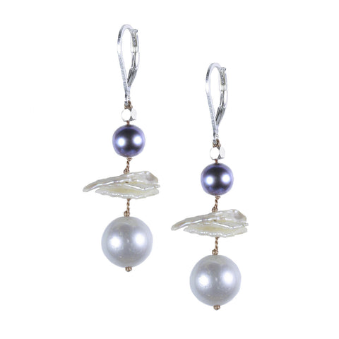 Silver Multi and Keshi Pearl Floating Silk Earring