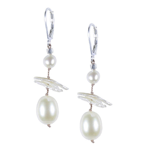 White Pearl Silk Earrings