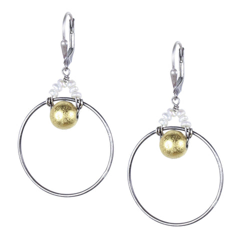 Loop Earring with Gold Pyrite