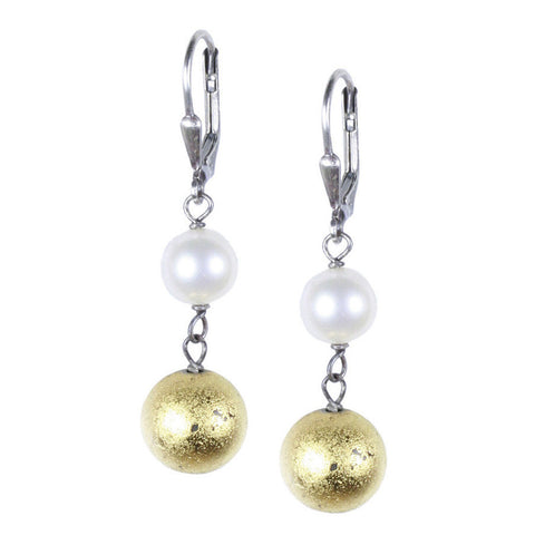 Gold Pyrite and Pearl Dangle Earring