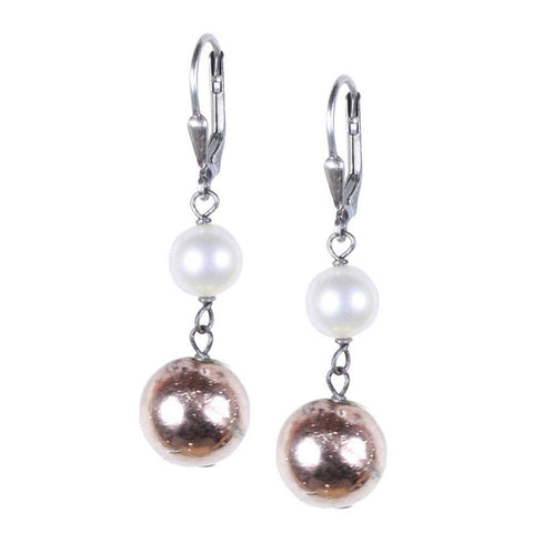 Rose Gold Pyrite and Pearl Earring