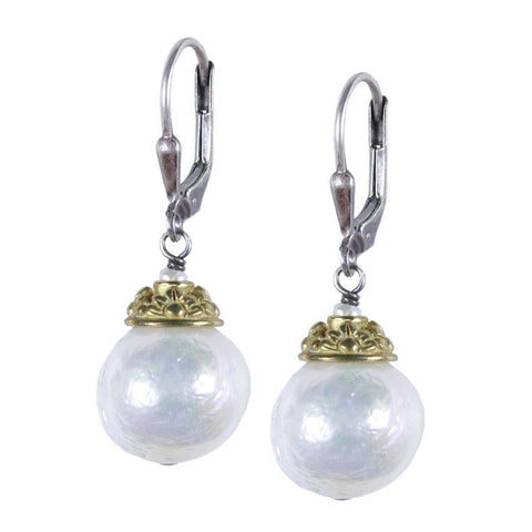Large Baroque Pearl with Brass Floral Cap Earring