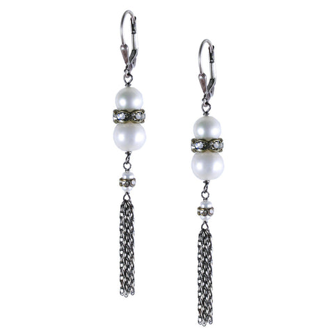 Medium Stacked Pearl with Crystal Roundels and Tassel Earring