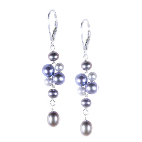 Gray Pearl Cluster with Dangle Earring