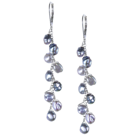 Silver and Gray Keshi Pearl Line Earring