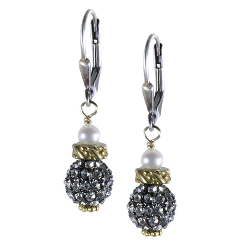 CRYSTAL PAVE BEAD WITH BRASS AND PEARL ACCENT EARRING