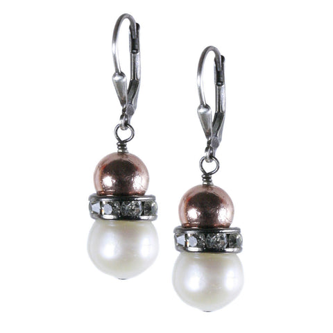 Large Potato Pearl, Plated Pyrite and Crystal Roundel Earring