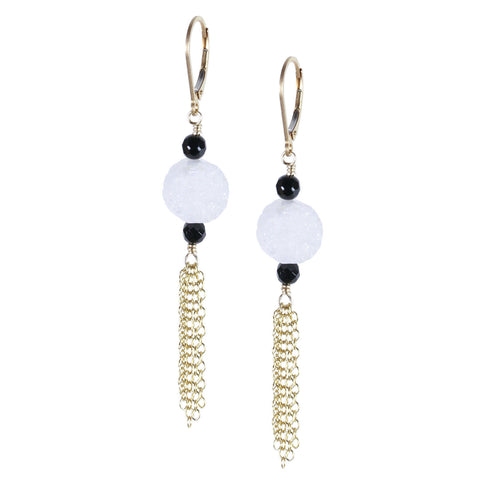 White Drusy and Onyx with Tassel Earring