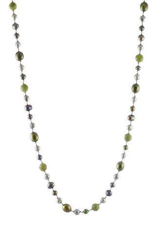 Olive Multi Pearls and Olive Jade Floating Necklace