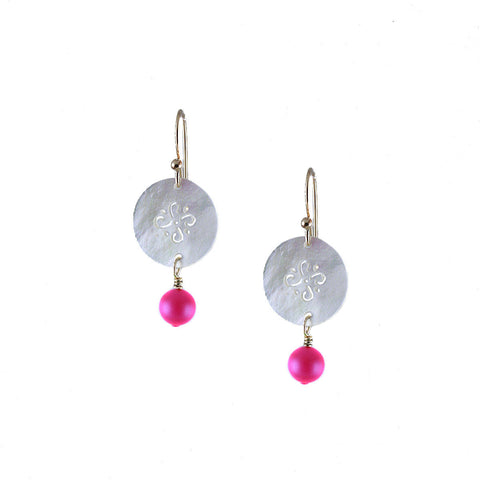 MOTHER OF PEARL AND NEON PINK EARRING