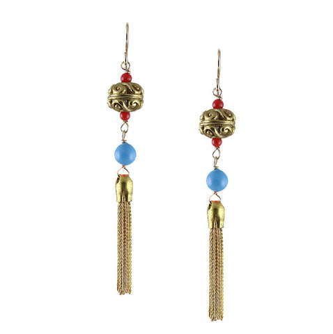 BRASS TASSEL EARRING in BLUE