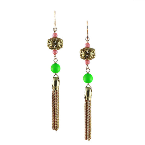 BRASS TASSEL EARRING in NEON GREEN