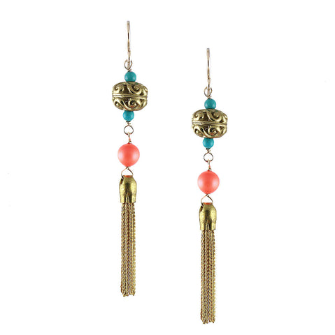 BRASS TASSEL EARRING in NEON ORANGE