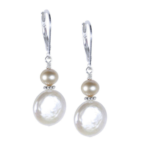 White Coin Pearl with Pink Pearl Accent Earring