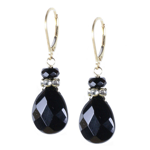 Dramatic Black Onyx Pear Drop Earring