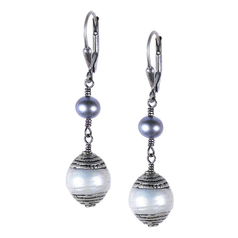 Long Tibetan Pearl Dangle Earring