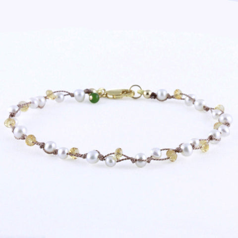 Small Double Threaded White Pearls and Citrine Bracelet