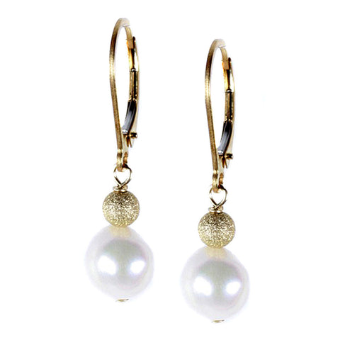 Pearl and Gold Stardust Bead Drop Earring
