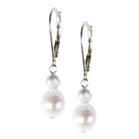 Pearl and Silver Stardust Earring
