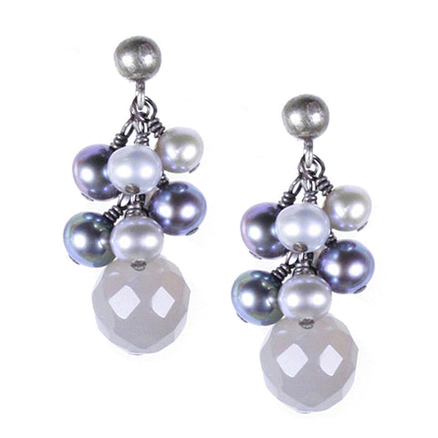 Gray Onyx and Pearl Cluster Post Earring