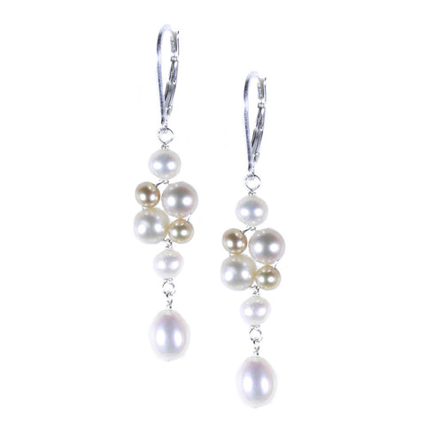 White and Champagne Pearl Cluster Earring