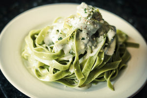 Arugula Pasta with Garlic Mushroom Cream