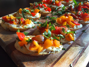 Neapolitan Herb Tomato Crostinis with Whipped Feta