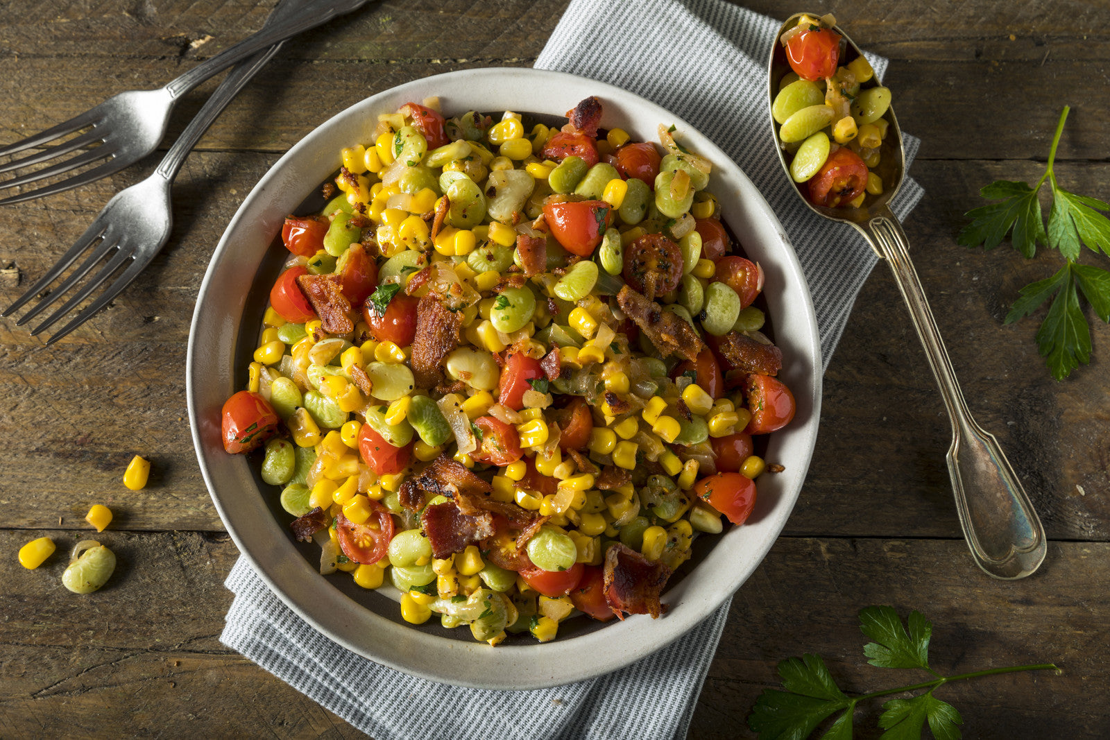 Succotash with Lima Beans & Bacon