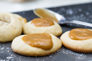 Gingerbread Thumbprints with Balsamic Butterscotch Caramel
