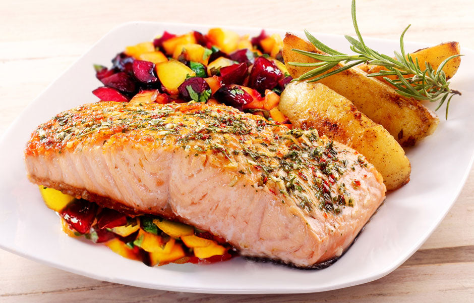 Grilled Salmon With Peach Salsa