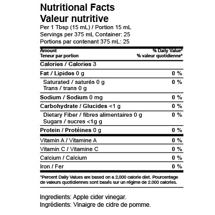 Della Terra Nutritional Facts - Apple Cider Vinegar