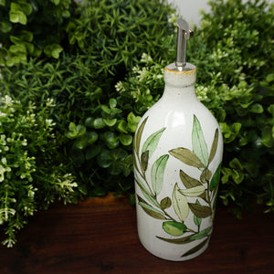 Farm to Table Ceramic Olive Oil Bottle with Pouring Spout