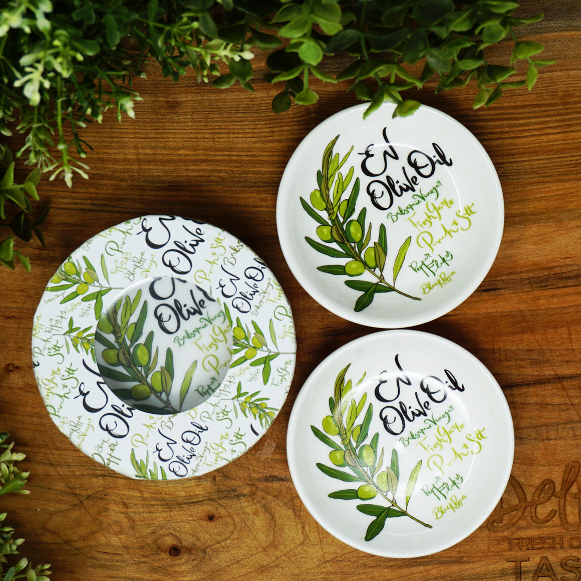 Della Terra- Oil and Balsamic Dipping Plates - Set of 2